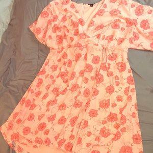 Plus size floral wrap around dress